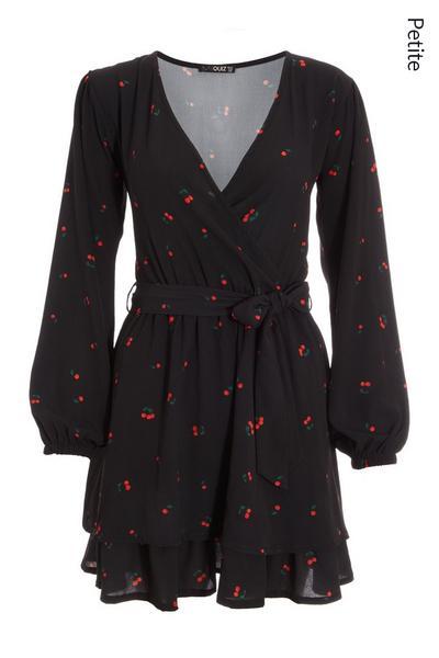 Petite Black Cherry Print Skater Dress